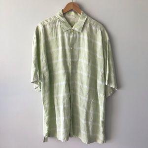 MEN's TOMMY BAHAMA Green Linen Shirt XXL